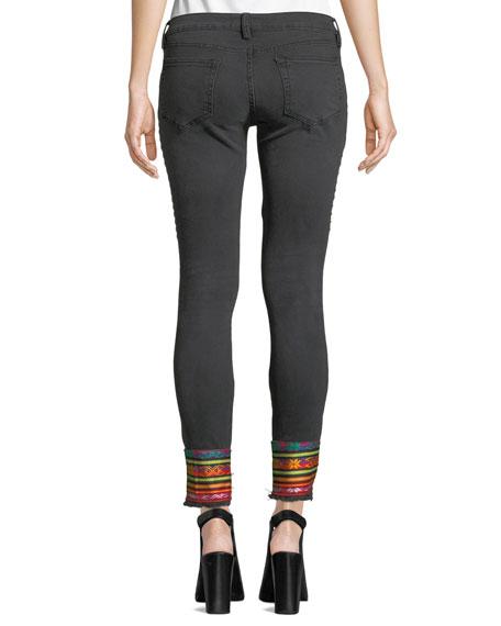 Studded Step-Hem Skinny Jeans with Trim