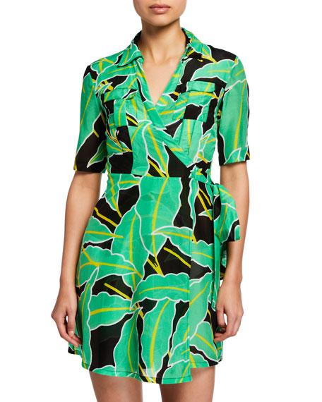 Diane von Furstenberg Clarem Logo-Print Wrap Coverup Shirtdress