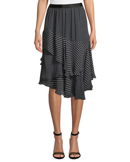Joie Deshay Tiered Polka-Dot Skirt