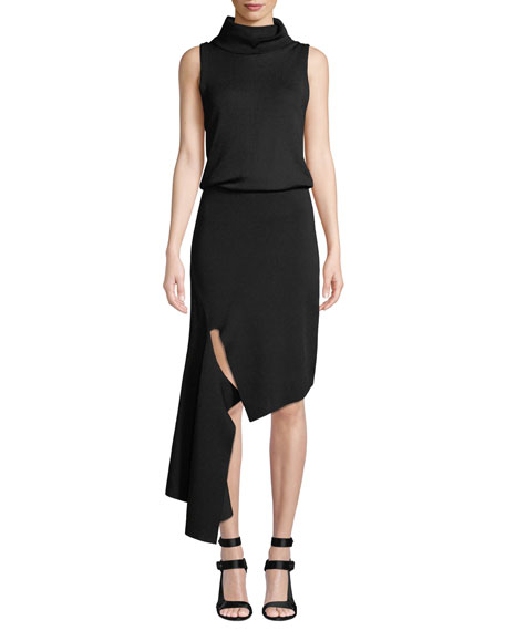 Image 1 of 1: Hollis Mock-Neck Cascade Dress