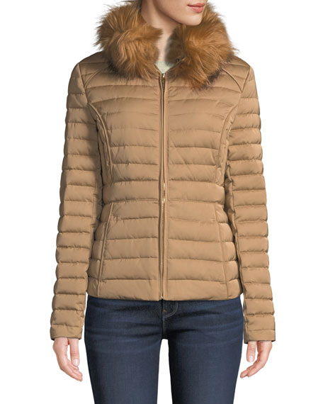 Hunter REFINED FAUX-FUR PUFFER JACKET