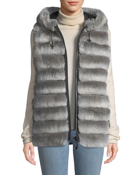 Belle Fare Reversible Fur Vest w/ Hood