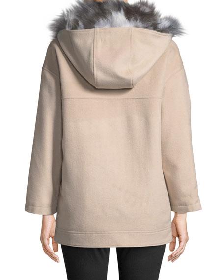 Detachable Fur-Lined Hooded Wool Jacket