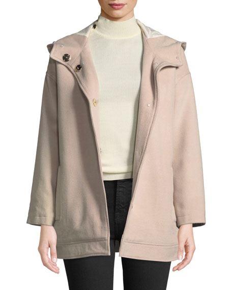 Detachable Fur-Lined Hooded Wool Jacket