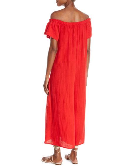 Plus Size Blanche Wide-Leg Organic-Cotton Jumpsuit Coverup