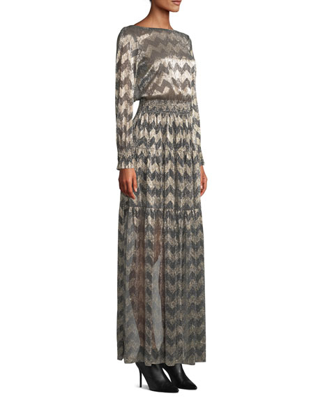 Boat-Neck Chevron Stripe Metallic Maxi Dress
