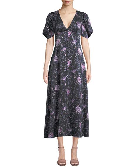 Delaney Floral Button-Front Silk Long Dress