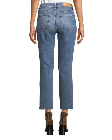 Edie Cropped Raw-Edge High-Rise Jeans