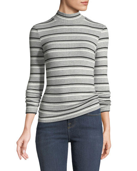 Turtleneck 70's Inspired Striped Ribbed Sweater