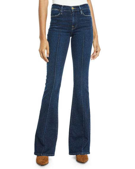 FRAME Le High Flare-Leg Pintuck Jeans