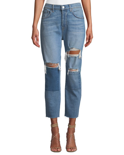 Josephina High-Waist Straight-Leg Patchwork Jeans w/ Raw-Edge Hem