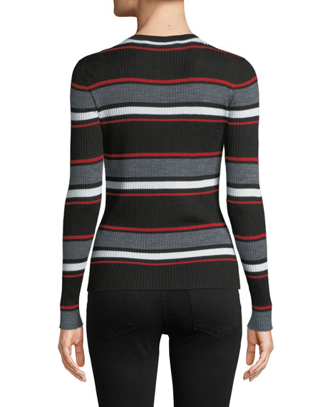 Panel Stripe Crewneck Long-Sleeve Top