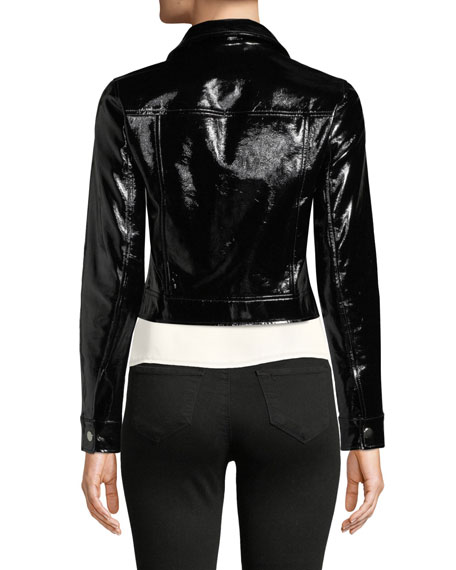 Lex Cropped Patent Leather Moto Jacket