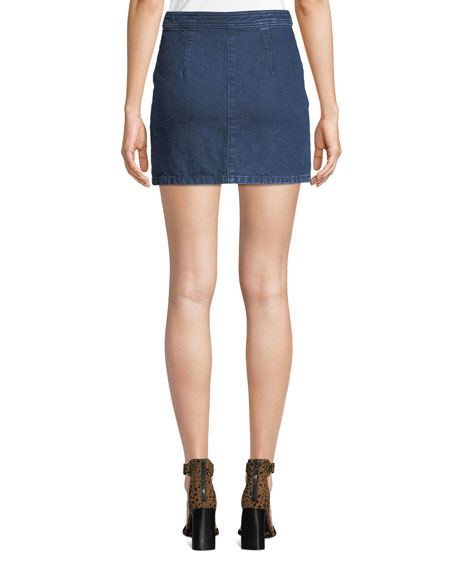 Racer Zip-Front Denim Mini Skirt