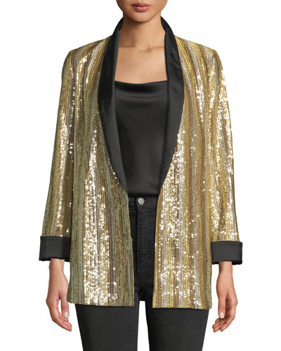 Jace Shawl-Collar Oversized Sequin Tux Blazer