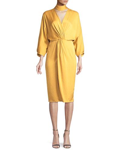 Twist-Front Crepe Wrap Dress