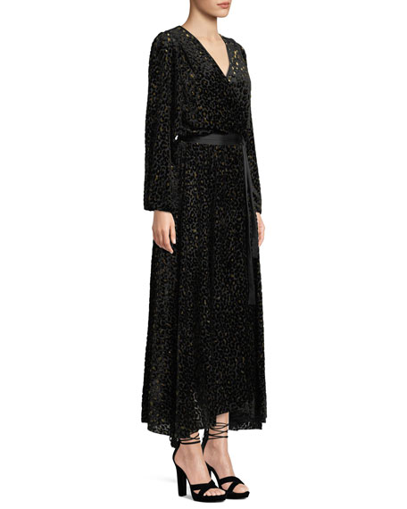 Metallic Animal-Print Velvet Devore Wrap Dress