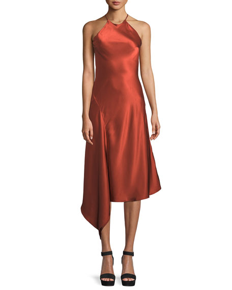 ALEXIS Lucy Draped Twill Halter Midi Dress in Red