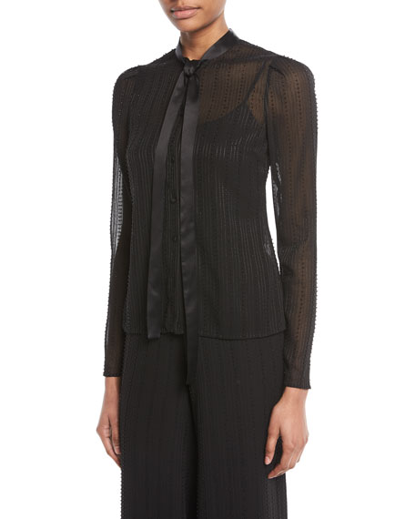 Taissa Sheer Striped Embellished Tie-Neck Top