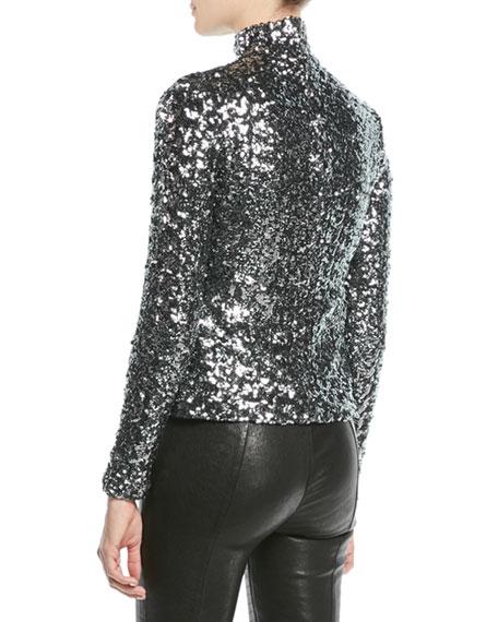 Celeste Sequin Turtleneck Long-Sleeve Top