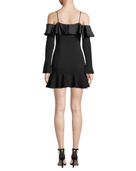 Crepe Sateen Cold-Shoulder Flounce Short Dress