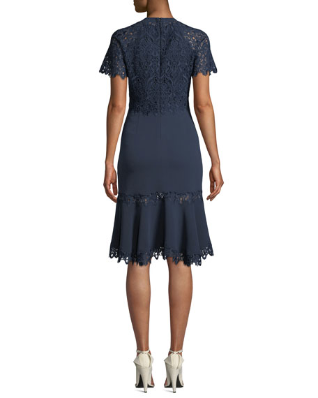 Embroidered Flounce Short-Sleeve Cocktail Dress
