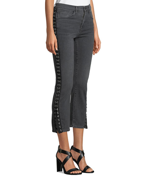 Corset Slim Cropped Jeans with Hook-and-Eye Trim
