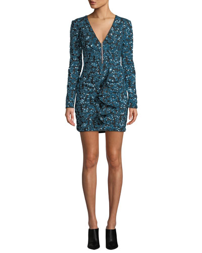 Zip-Front Sequin Frill Mini Cocktail Dress