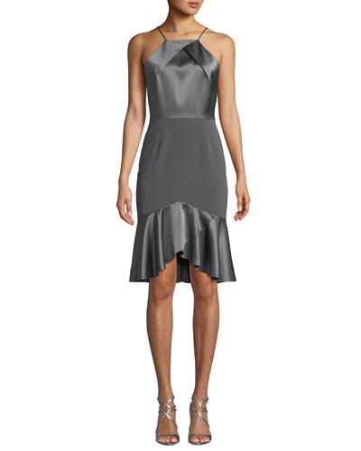 Bella High-Low Satin Cocktail Dress