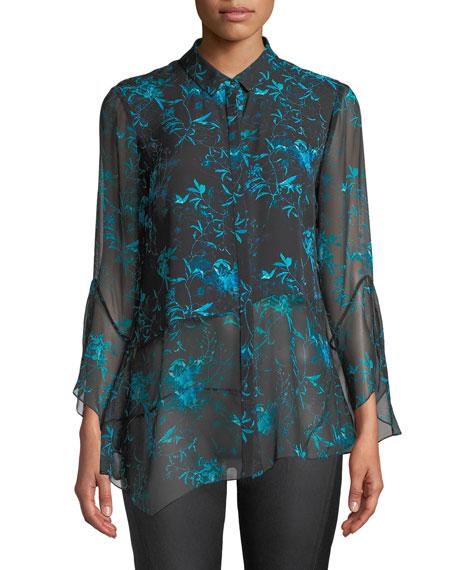 Layla Floral-Print Silk Blouse