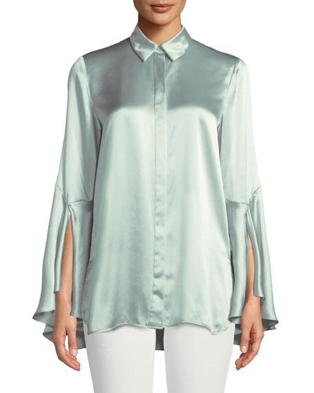 Cartolina Silk Charmeuse Long-Sleeve Blouse