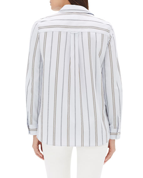 Velma Long-Sleeve Sonoran Striped Cotton Blouse