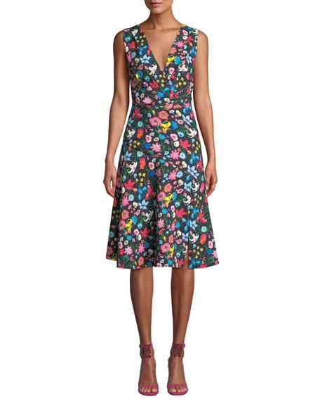 ELIE TAHARI Jila Floral-Print A-Line Dress in Black Multi
