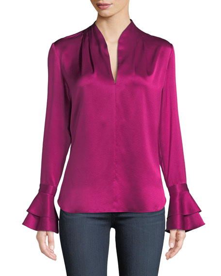 ELIE TAHARI Judith Long-Sleeve Silk Blouse W/ Tiered Cuffs in Orchid