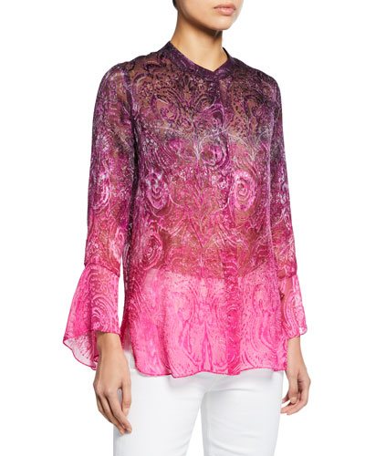 Chava Button-Front Long-Sleeve Floral-Print Blouse