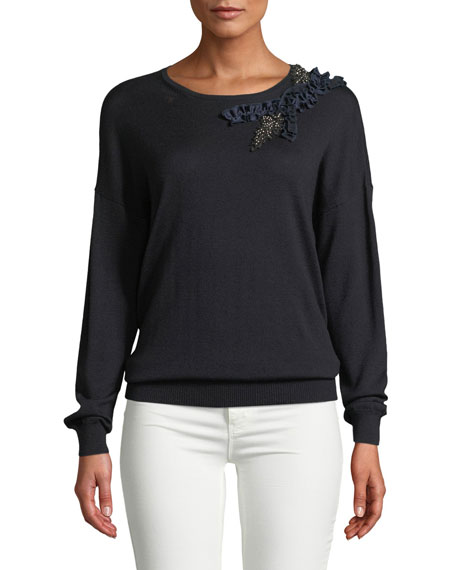 Elie Tahari LAEL EMBELLISHED-SHOULDER SWEATER