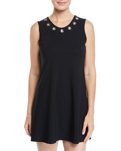 Viviana Scoop-Neck Coverup Dress with Grommet Trim