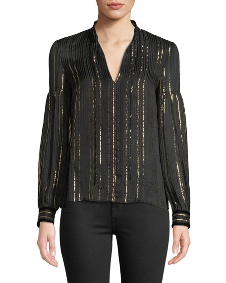 Derek Lam 10 Crosby Metallic Tie-Neck Long-Sleeve Silk