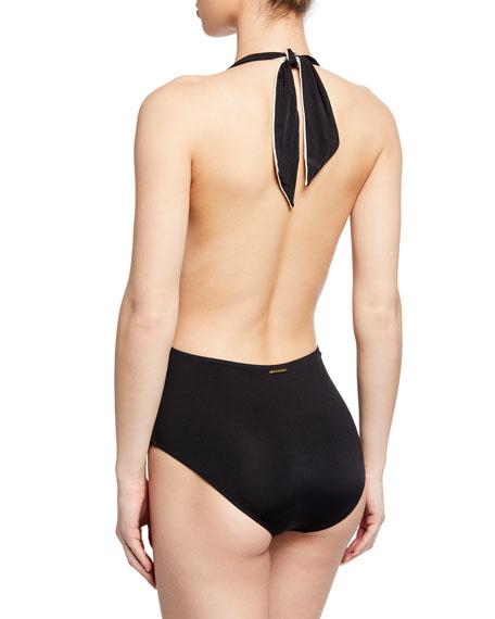 Stella Mccartney Ballet Tie-Front Halter One-Piece Swimsuit In Black/Cream