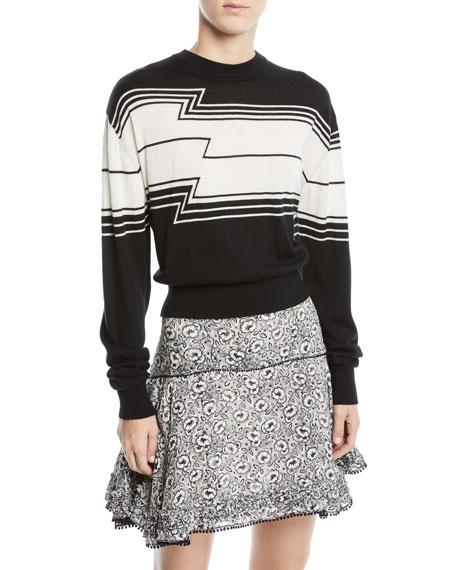 Derek Lam 10 Crosby Zig-Stripe Wool/Silk Knit Pullover