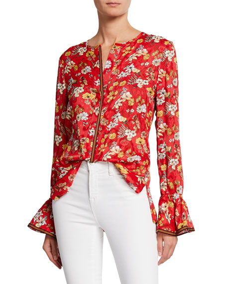 Derek Lam 10 Crosby Floral-Print Long-Sleeve Silk Blouse