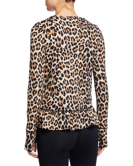 leopard-print long-sleeve flounce top