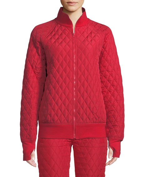 Quilted Stand-Collar Bomber Jacket