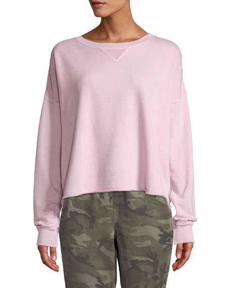 Cropped Raw Edge Pullover Sweatshirt by Amo Denim