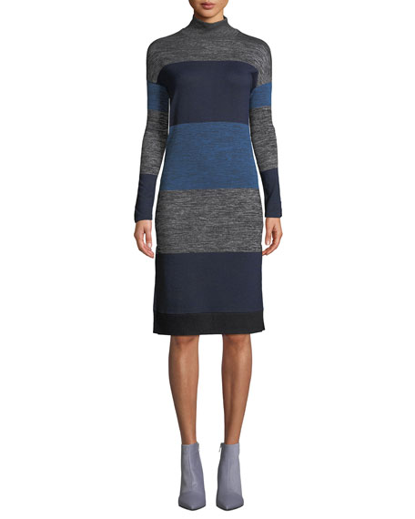 Bowery Striped Turtleneck Dress
