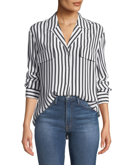 Image 1 of 1: Striped Silk Button-Front Long-Sleeve Top