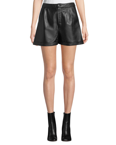 Image 1 of 1: Pleated Leather Culotte Shorts