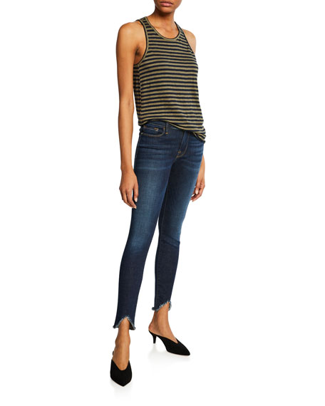 Le High Skinny Ankle Jeans with Chewed Hem