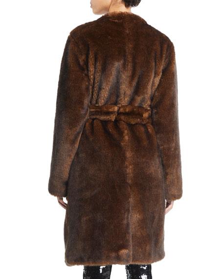 Faux-Mink Open-Front Long Jacket