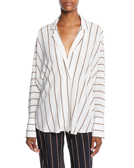 Noreen Striped Long-Sleeve Silk Top